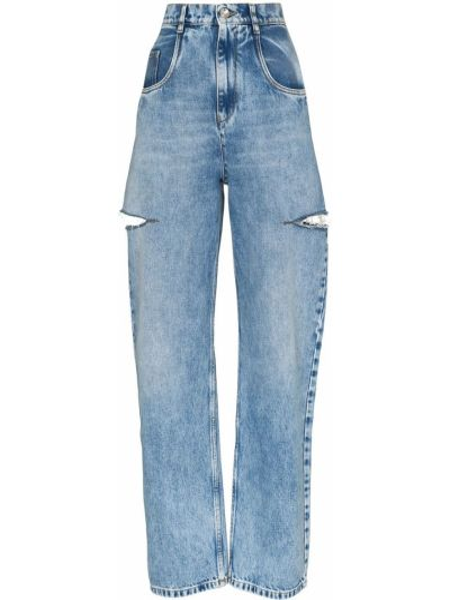 Синие с завышенной талией прямые джинсы с разрезом на молнии Maison Margiela