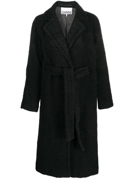 Шерстяное черное длинное пальто с поясом Ganni