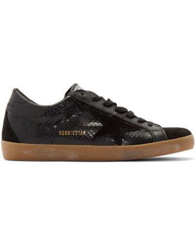 Czarny włókienniczy sneakersy perforowany z łatami Golden Goose