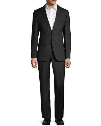 Темно-серый костюмный шерстяной костюм классический Boss Hugo Boss