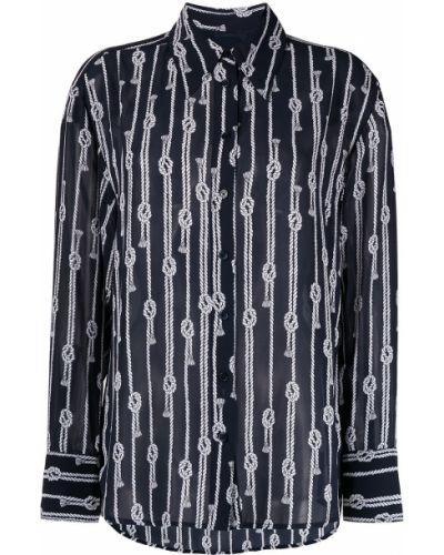 Синяя с рукавами классическая рубашка с воротником Michael Kors