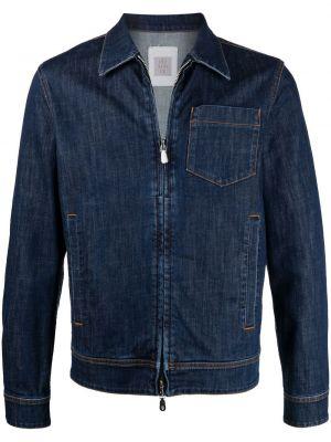 Синяя джинсовая куртка на молнии с воротником Eleventy