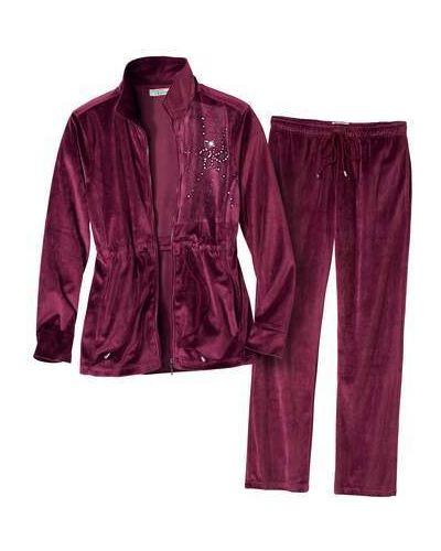 Фиолетовый костюмный велюровый домашний костюм свободного кроя Atlas For Men