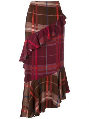 Асимметричная с завышенной талией красная юбка миди À La Garçonne