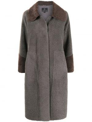 Коричневое пальто миди Unreal Fur