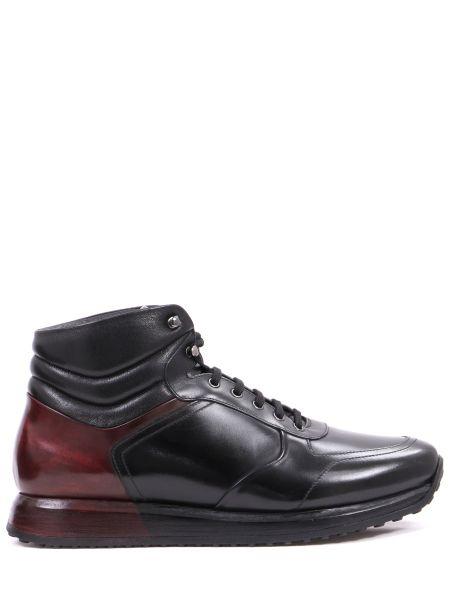 Кожаные черные высокие кроссовки на толстой подошве со вставками Franceschetti