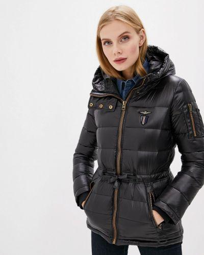 Черная зимняя куртка Aeronautica Militare