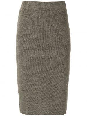 Серая с завышенной талией юбка с поясом из вискозы Osklen