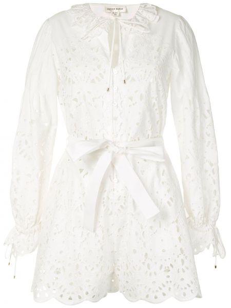С рукавами белое платье макси с поясом Zuhair Murad