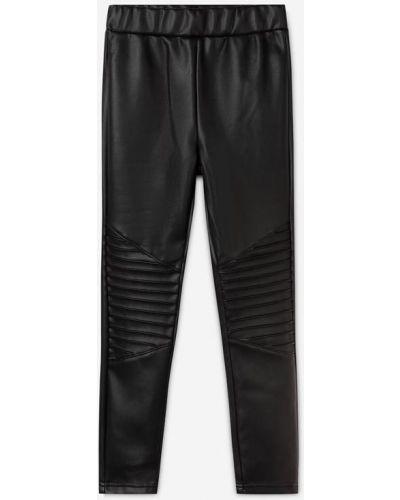 Кожаные леггинсы - черные Gloria Jeans