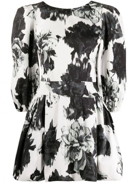 Czarna sukienka midi rozkloszowana w kwiaty Alexandre Vauthier
