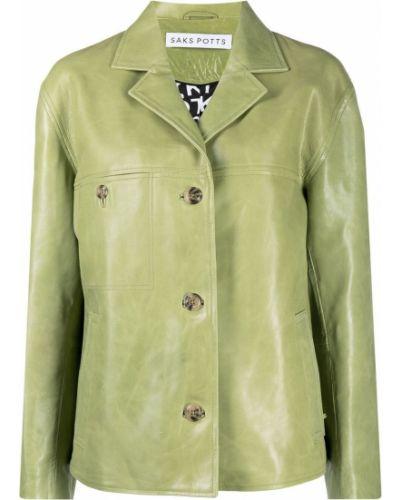 Зеленая кожаная куртка с воротником Saks Potts
