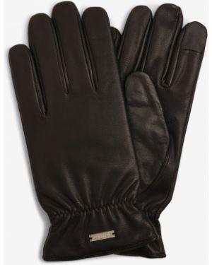 Ciepłe czarne rękawiczki eleganckie Calvin Klein