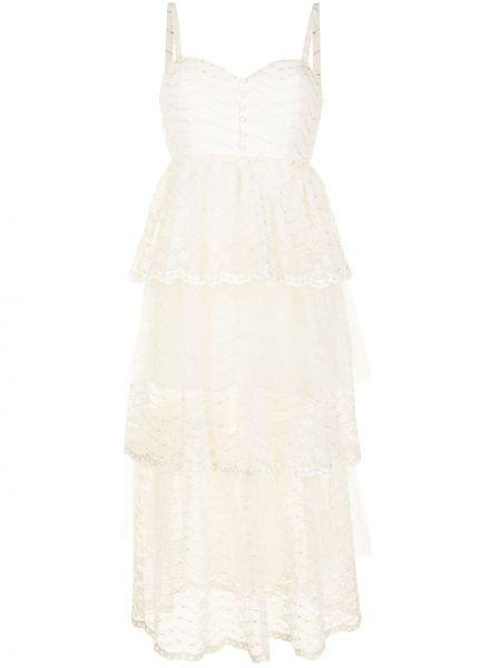 Шелковое кружевное белое платье миди Alice Mccall