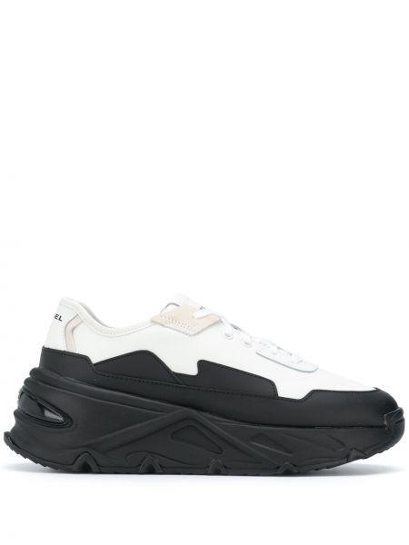 Кожаные массивные черные кроссовки на шнуровке Diesel