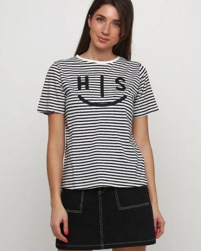 Белая футболка в полоску H.i.s