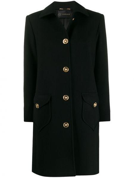 Шерстяное черное пальто классическое с капюшоном Versace