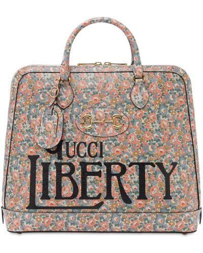 Otwarty bawełna torba na ramieniu z prawdziwej skóry prążkowany Gucci