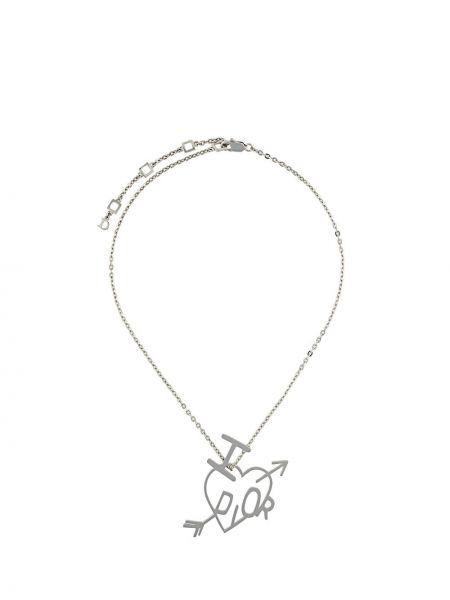 Серебряное ожерелье металлическое с подвесками Christian Dior