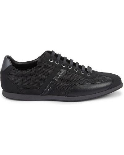 Czarne sneakersy skorzane koronkowe Boss Hugo Boss