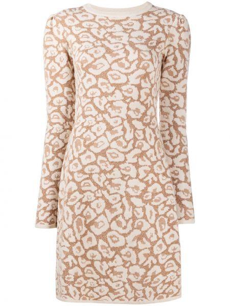 Трикотажное с рукавами вязаное платье макси с вырезом Temperley London
