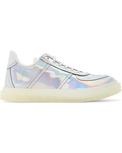 Skórzane sneakersy białe srebro Giuseppe Zanotti