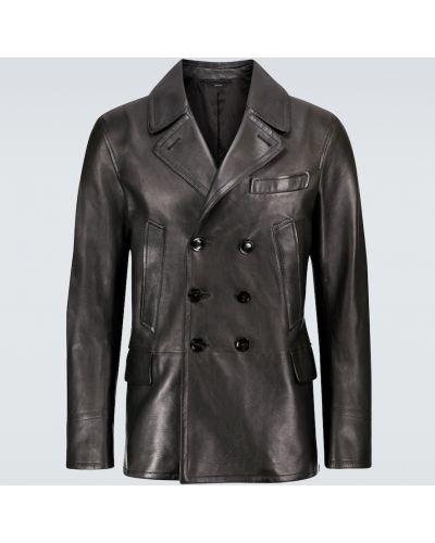 Черная кожаная куртка двубортная Tom Ford