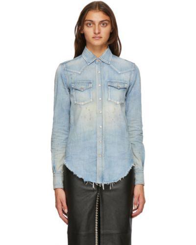 Srebro koszula jeansowa z kołnierzem z kieszeniami z mankietami Saint Laurent
