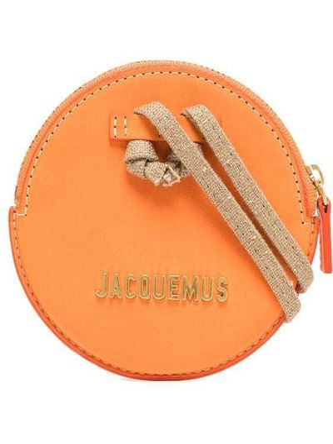 Кожаный клатч золотой на молнии Jacquemus