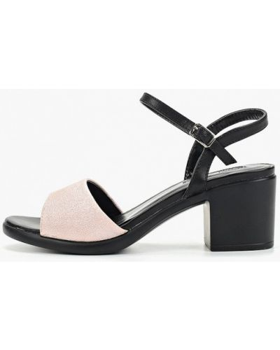 Босоножки на каблуке кожаные розовый Inario