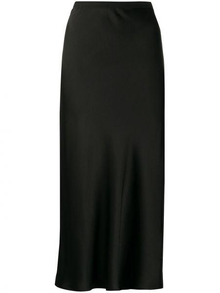 Шелковая черная с завышенной талией юбка миди Anine Bing