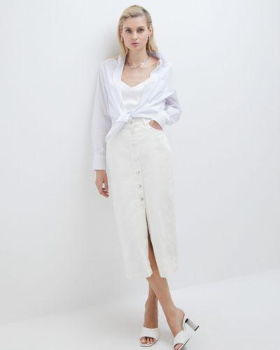 Облегающая хлопковая белая джинсовая юбка Zarina