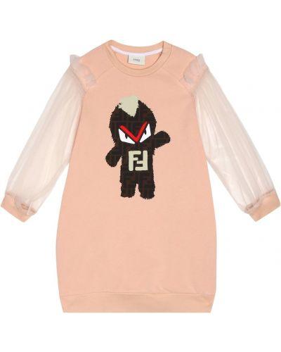 Платье розовое из фатина Fendi Kids