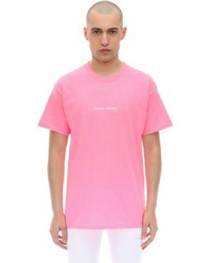 Różowy t-shirt bawełniany Famt - Fuck Art Make Tees