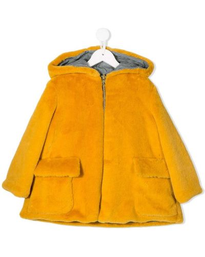 Расклешенное желтое длинное пальто Owa Yurika