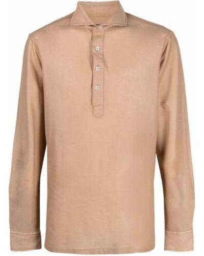 Beżowa koszula bawełniana z długimi rękawami Lardini