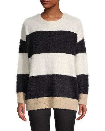 Czarny długi sweter w paski z nylonu Central Park West