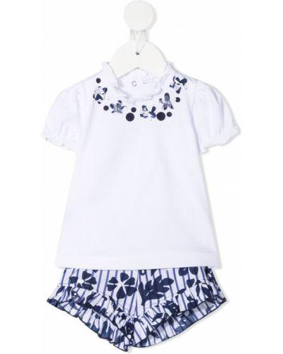 Белая блузка с короткими рукавами со вставками Il Gufo
