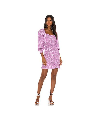 Фиолетовое шелковое платье мини на резинке с манжетами Faithfull The Brand