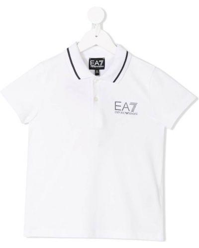 Классическая белая рубашка с вышивкой с воротником Ea7 Kids