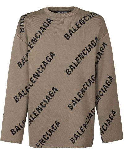 Sweter bawełniany - brązowy Balenciaga