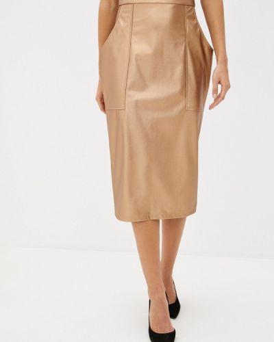 Кожаная юбка золотая Trendyangel