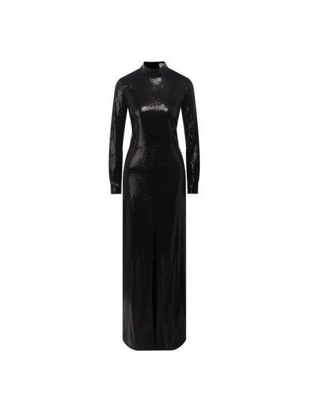 Приталенное вечернее платье с пайетками с воротником с длинными рукавами A La Russe