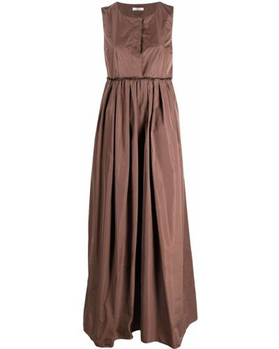 Коричневое платье макси без рукавов с V-образным вырезом Peserico