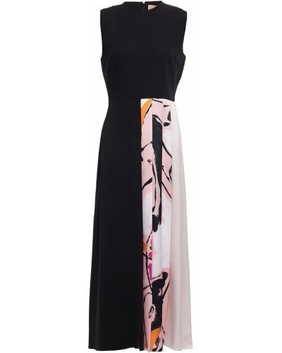 Satynowa czarna sukienka midi Roksanda