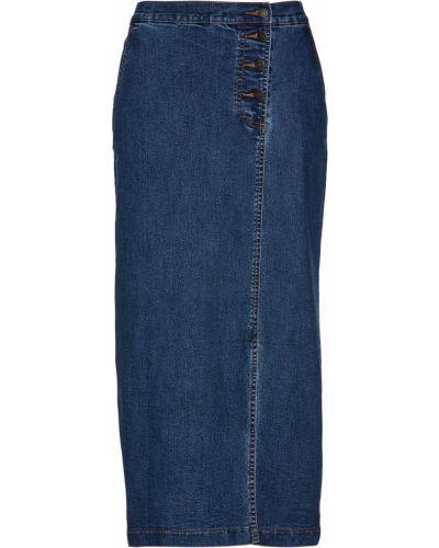 Синяя джинсовая юбка с карманами на пуговицах Bonprix