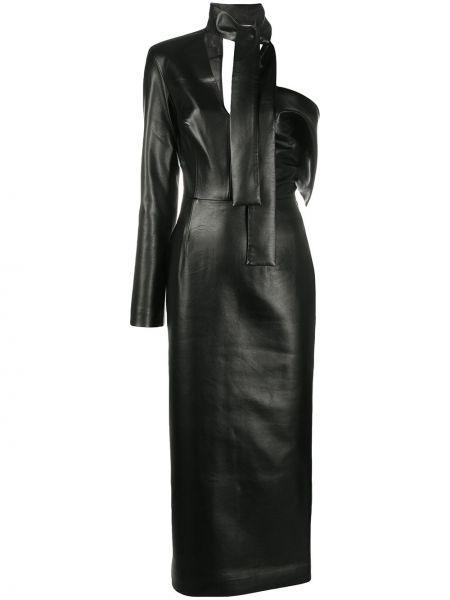 Хлопковое черное асимметричное платье на молнии Matériel