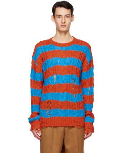 Шерстяной длинный свитер в полоску с воротником Andersson Bell