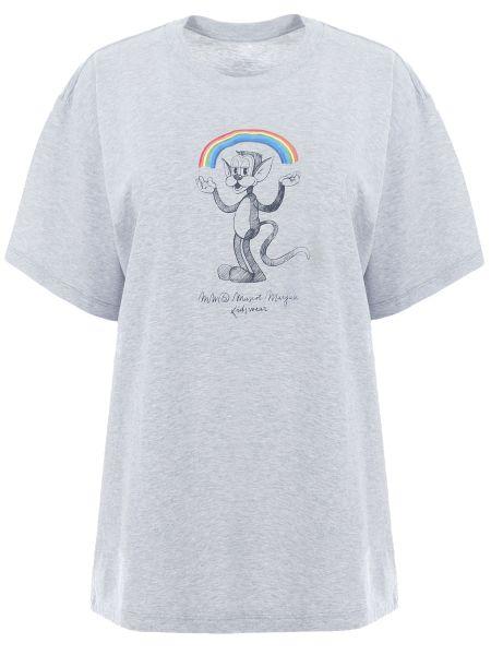 Футбольная свободная футболка со стразами с круглым вырезом Mm6
