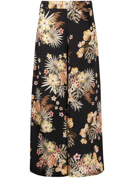 Свободные брюки черные в цветочный принт Liu Jo